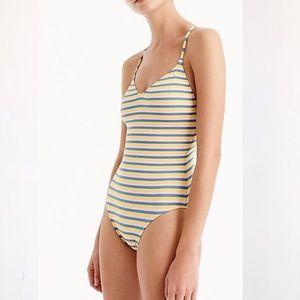 J Crew T Back Swimsuit In Sunshine Stripe